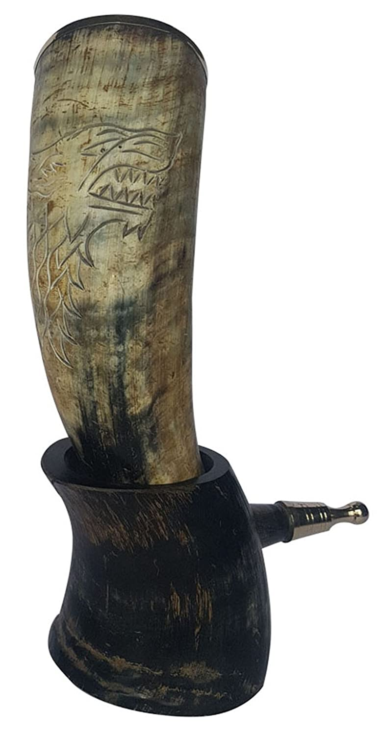 XL Handcrafted 12-14 Hand Engraved King Robb 'The Young Wolf' Hand engraved Handcrafted Drinking Natural Viking Drinking Horn with brass trim & Brass Knob SIXTH SENSE