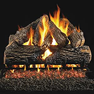 Peterson Real Fyre 30-inch Charred Oak Log Set With Vented Natural Gas Ansi Certified G46 Burner - Variable Flame Remote
