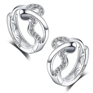 Meixao 925 Sterling Silver Cubic Zirconia Heart Hoop Earrings Studs for Girls/Women XcUZ2I