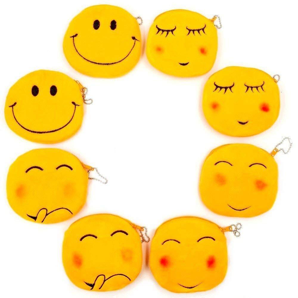 JZK 8 Porte-monnaie peluche Emoji 11 cm petit sac velours sac émoticône smiley sac visage porte-monnaie cadeau anniversaire cadeau Noël pour enfants filles garçons