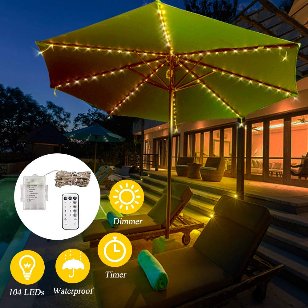 Urijk Patio Umbrella String Lights, 104 LEDs, 8 Strings, 8 Modes, Patio String Lights Outdoor Battery Operated with Remote Control for Restaurant Coffee Shop Outdoor Garden Backyard Holiday