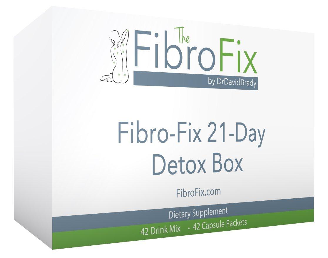 Fibro-Fix 21-Day Detox Box   Dr. David Brady's Fibromyalgia Fix   Foundation Program   42 Detox Shakes and Capsule Packets for Pain Relief