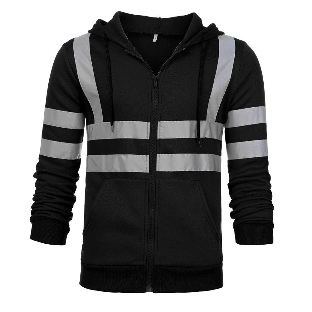 Serzul Men Hooded Jacket Fluorescence High Visibility Long Sleeve Coat Road Work Zipper Jacket Outerwear