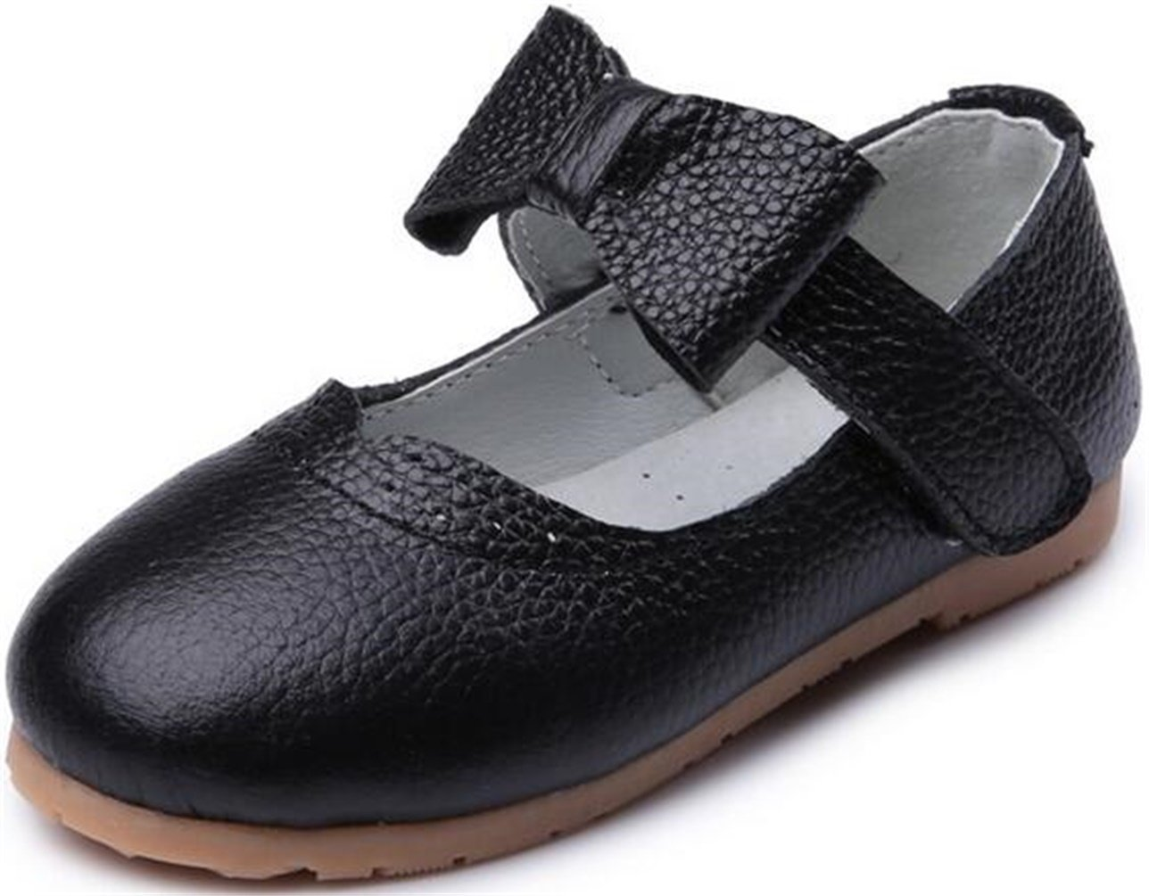 PPXID Girl's Bowknot Genuine Leather Ankle Strap Oxford Princess Shoes-Black 7 US size