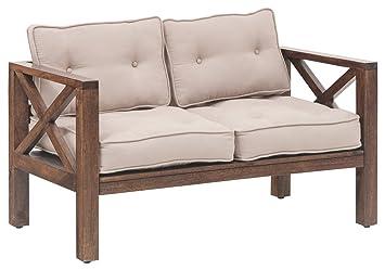 the jaipur living goa two seater sofa honey brown finish brown rh amazon in