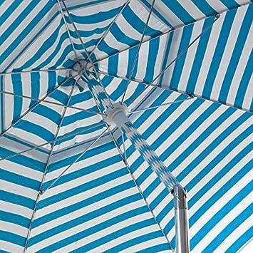 Heininger 1321 DestinationGear Italian Blue and White 6 Acrylic Striped Beach Pole Umbrella