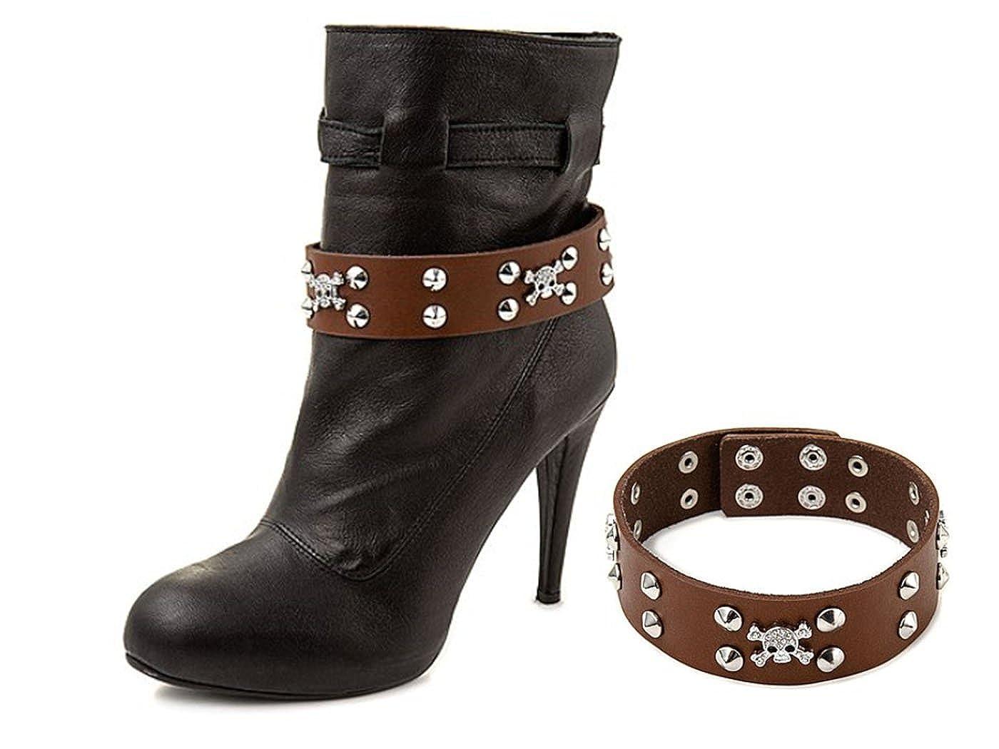 La Loria Accessoires Femme chaîne de bottes Hard Rock No 2 Accessoires bijoux en cuir véritable pour embellir les chaussures (2 pièces) CFS 182