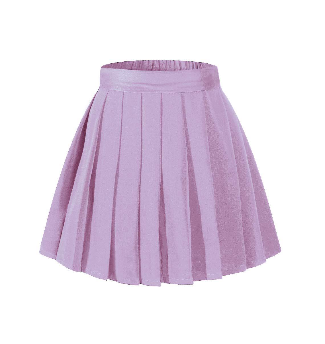 Girl's Pleated Knee Length Midi Skirt A Line Flared Skorts Purple,S