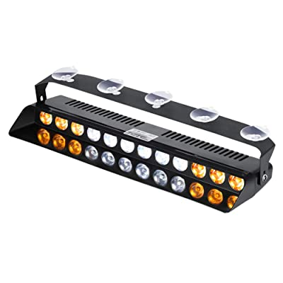 WOWTOU Amber White Warning Light 12W LED 16 Strobe Flashing Patterns for POV, Utility Vehicle, Construction Vehicle and Tow Truck: Automotive
