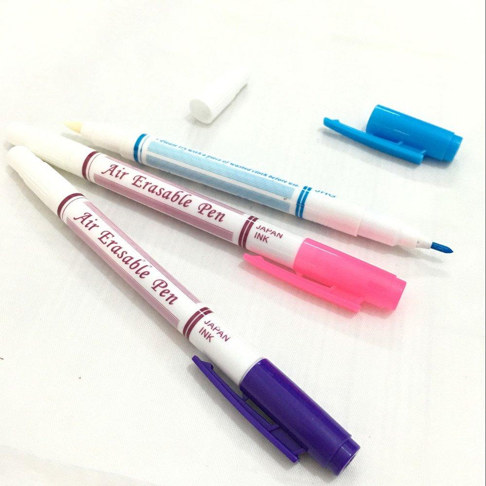 Yeqin(TM), pennarelli cancellabili per tessuto auto-evanescenti, 3 pennarelli color blu, viola e rosa