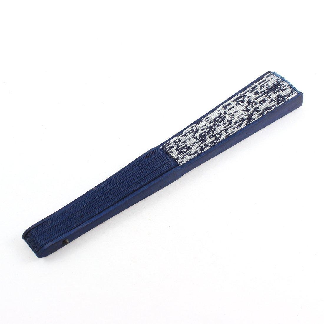 Amazon.com: eDealMax El bambú Chino Manija plegable de Tela patrón de la Flor de la Mano del ventilador Azul Marino: Home & Kitchen