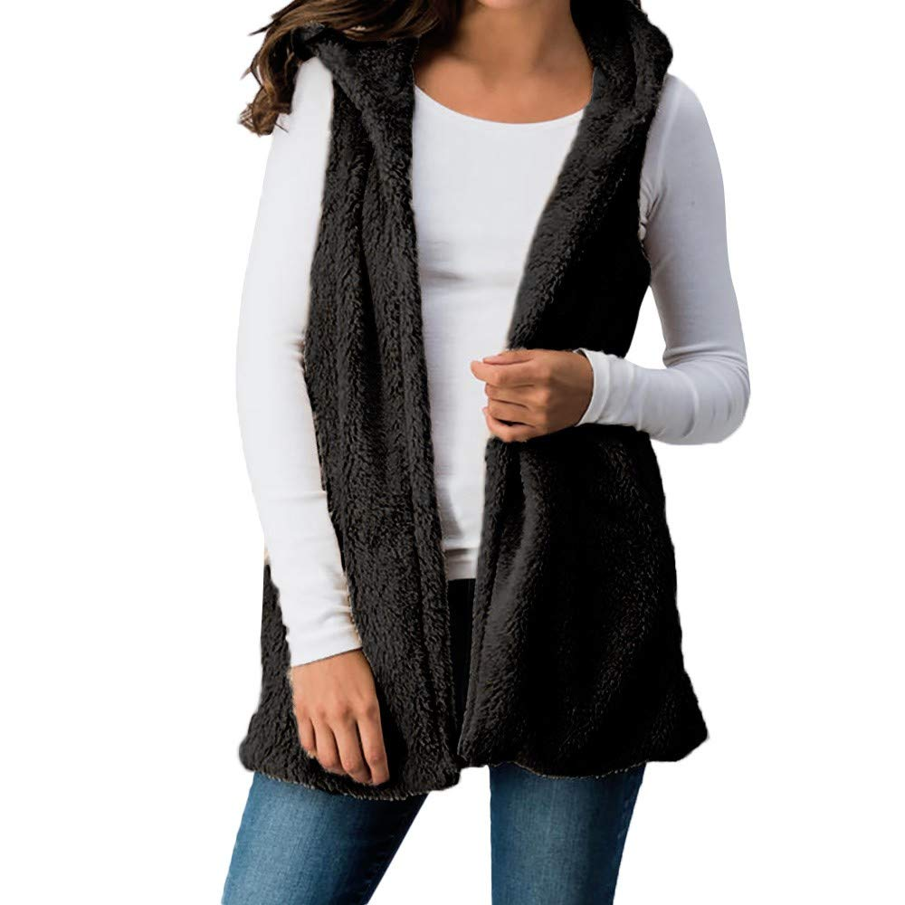 Women Lady Faux Fur Solid Cami Hooded Outwear Top Sleeveless Pockets Vest Warm Waistcoat Polo Shirts Black