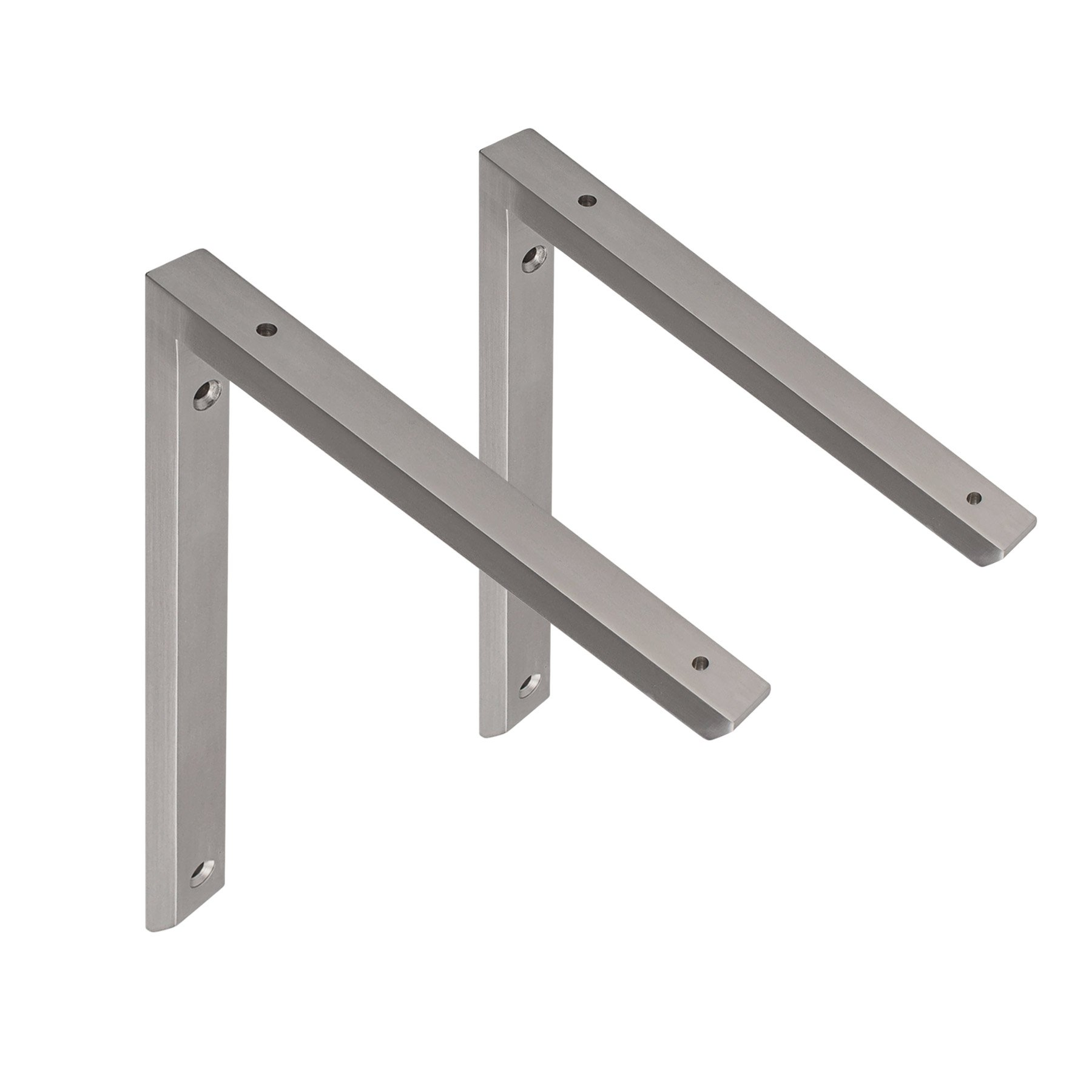 MAYKKE Morrison 10'' Shelf Bracket (Set of 2) Modern Stainless Steel Wall Mount Metal Ledge Hardware for Heavy Duty Storage, Brace Support 2 Sizes, 3 Colors Brushed Stainless Steel, OYA1110202 by Maykke (Image #1)