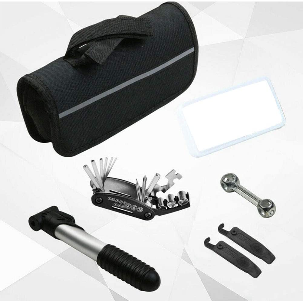 Kit de reparaci/ón port/átil para bicicleta de monta/ña duradera multifuncional Pnxq88 bomba exterior llave inglesa 16 en 1 con bolsa de almacenamiento liberaci/ón r/ápida