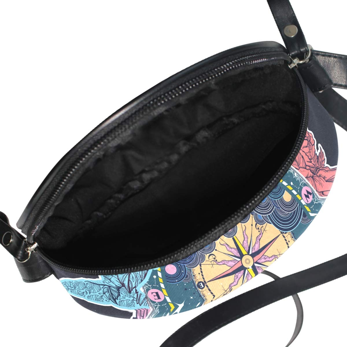 Antique Compass Whale Small Round Canvas Crossbody Messenger Bags for Women