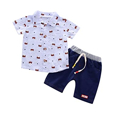 60e8f8f686b2 Amazon.com  Clothful 💓 Ioddler Baby Boys Summer Gentleman Bear ...