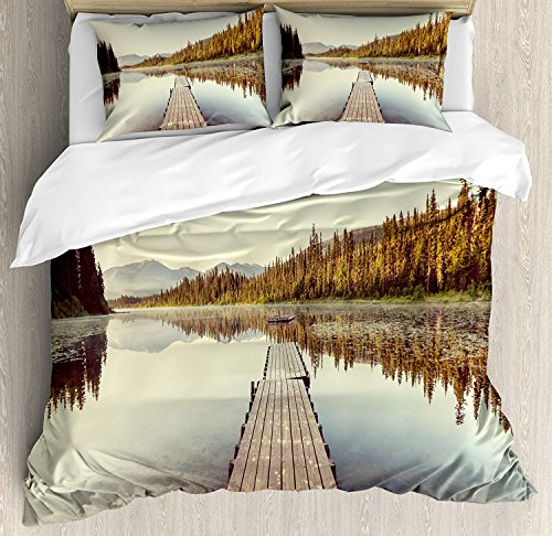 (4 Piece King Size Duvet Cover Set,Fall Wooden Pier Lake Serene Morning Woods Fishing Misty,Bedding Set Luxury Bedspread(Flat Sheet Quilt and 2 Pillow Cases for)