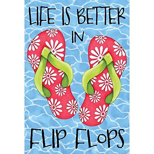 Life Is Better In Flip Flops Pool Blue 30 x 44 Rectangular Large House ()