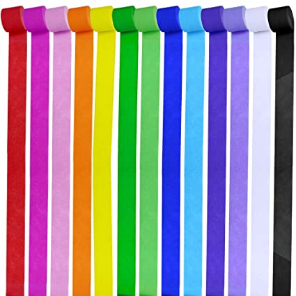 Supla 13 Rolls 355 Yard Party Streamers Backdrop Decorations Red Green Blue White Black Crepe Paper