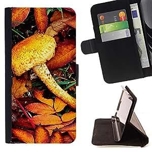 For Samsung Galaxy S4 IV I9500 - Nature Mist Mushroom /Funda de piel cubierta de la carpeta Foilo con cierre magn???¡¯????tico/ - Super Marley Shop -