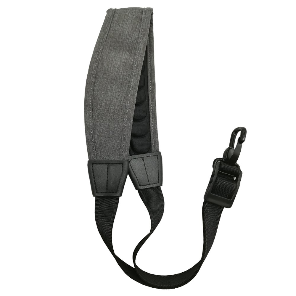 LONGTAI Saxophone Neck Strap for Alto Tenor Baritone Soprano Sax [New Wave Cushion Padded Design] Gray