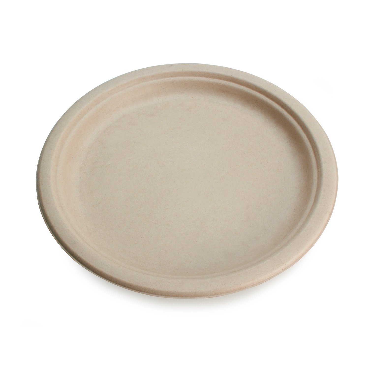 Earth's Natural Alternative Wheat Straw Fiber, Bagasse (Sugarcane) Tree Free 7'' Round Plate, 1000/Case