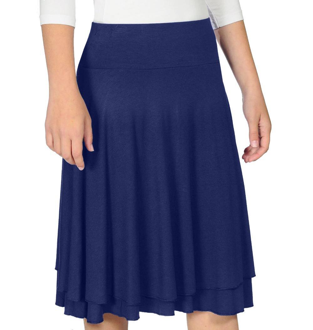 Kosher Casual Kids Big Girls' Modest Double Layer Knee Length Skirt Large Navy