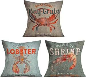 Aremazing Rustic Wood Background Sea Animal Home Decor Pillowcase Cotton Linen Cushion Cover Fresh Catch Crab Lobster Shrimp Throw Pillow Case Farmhouse Decorative 18''x18'' Set of 3