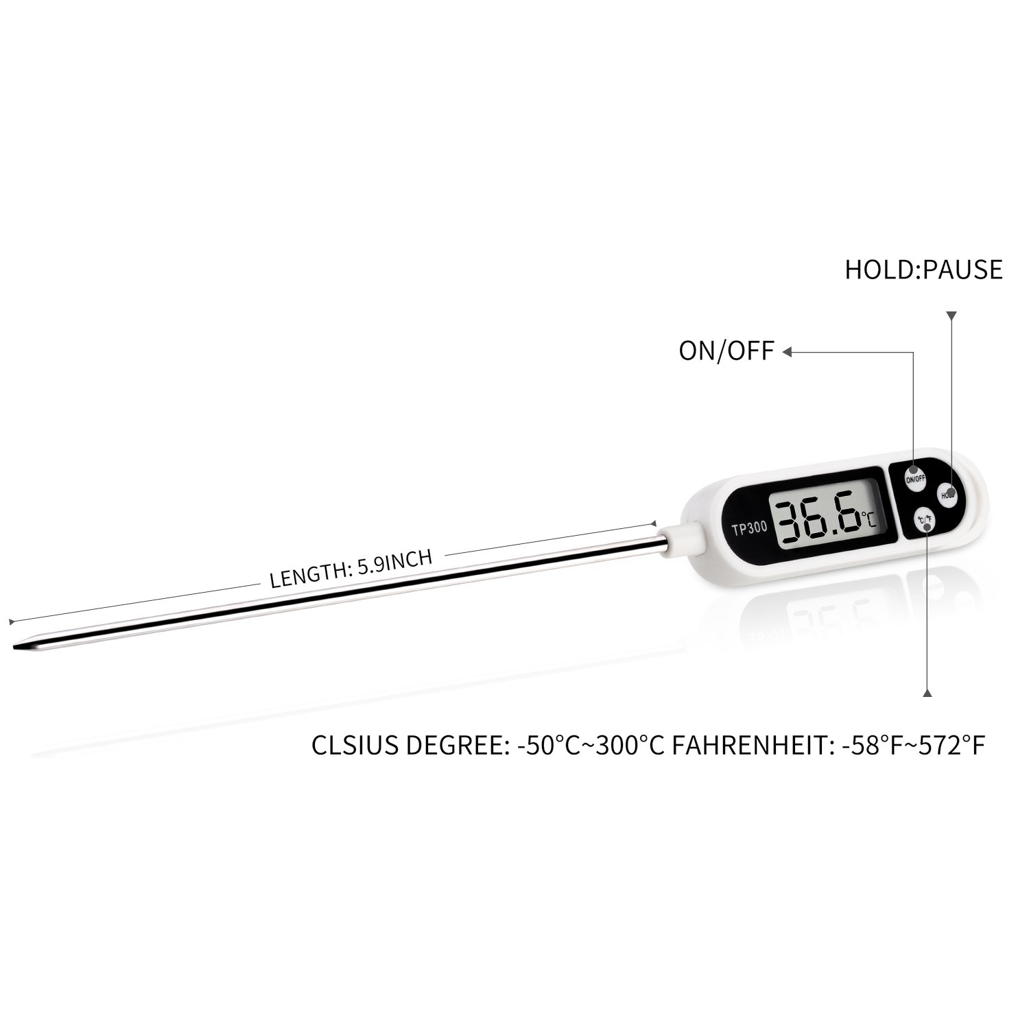Thermometer Koolife Digital Cooking Thermometers Long Lcd Electronic Circuit Probe Instant Read With Screen Anti Corrosion For Food Meat Grill Bbq