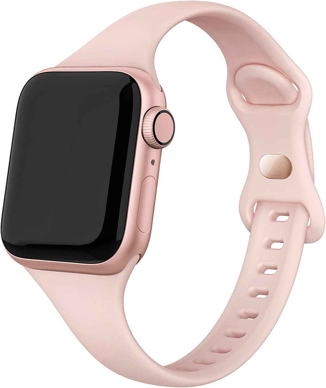 SWEES Sport Band Compatible with iWatch 38mm 40mm 42mm 44mm, Narrow Soft Silicone Slim Thin Small Replacement Wristband Strap Compatible for iWatch Series 6 5 4 3 2 1 SE Sport Edition Women Men