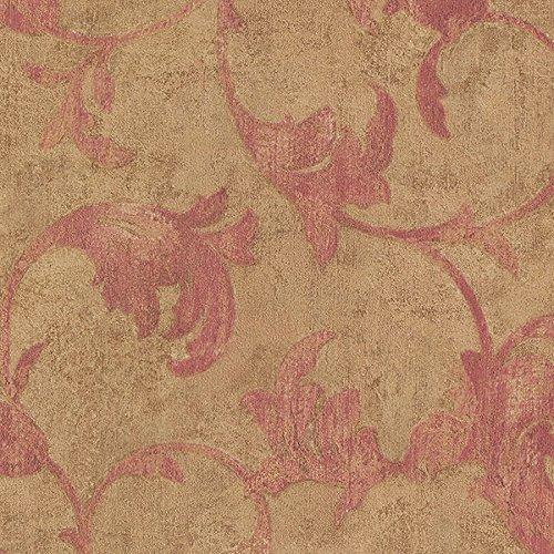 Manhattan Comfort NWTE29306 Hoffman Winding Scroll Textured Wallpaper, Pink, Metallic Gold, Ochre, Red, Brown ()