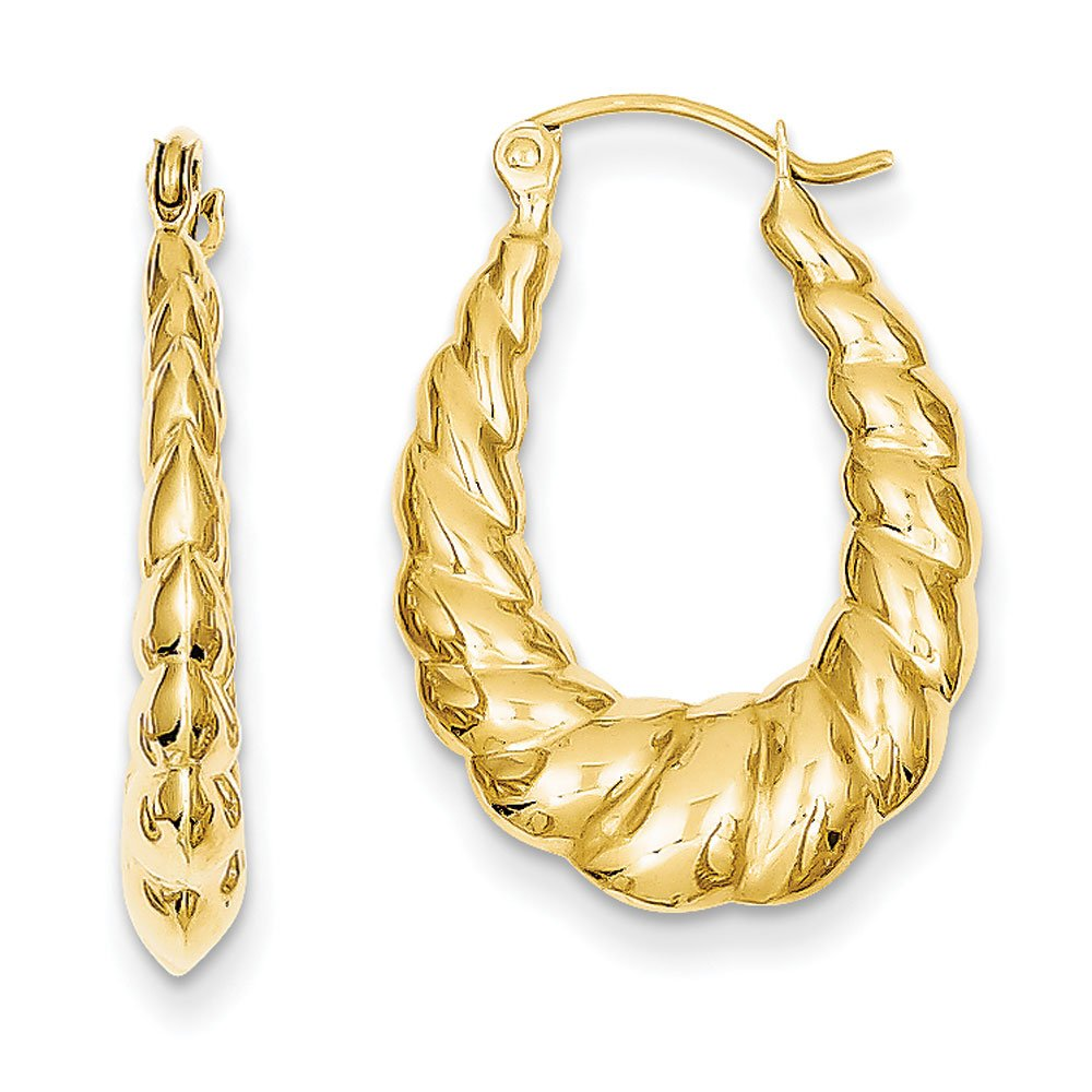 3mm x 25mm Polished 14k Yellow Gold Twisted Hollow Oval Hoop Earrings by The Black Bow