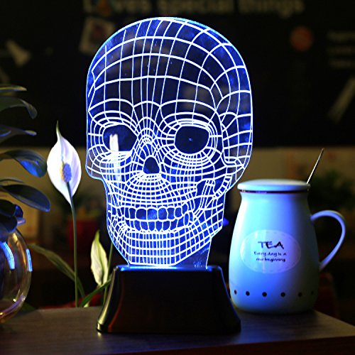 SAVFY 3D Skull bulbing Bedroom decorative night multi 7 color change USB Touch button LED desk table light lamp