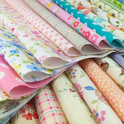 flic-flac Natural Cotton Thick Craft Printed Fabric High Density Bundle Squares Patchwork Lint DIY Sewing Scrapbooking Quilting Dot Pattern Artcraft