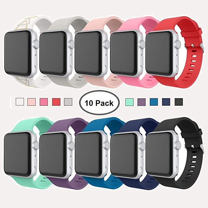 8dce747ddb Apple Watch Series 3 Band 42mm, [10 Pack] Alritz Soft Silicone Strap  Replacement
