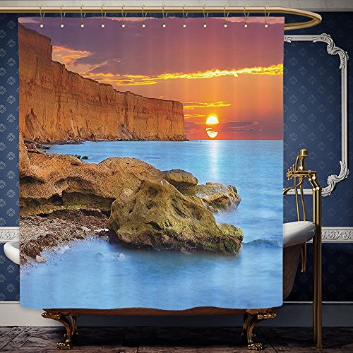 Wanranhome Custom-made shower curtain Scenery Decor Summer Seascape with Sun Up on the Horizon Illumination Serenity Relax Orange Blue For Bathroom Decoration 72 x 108 inches