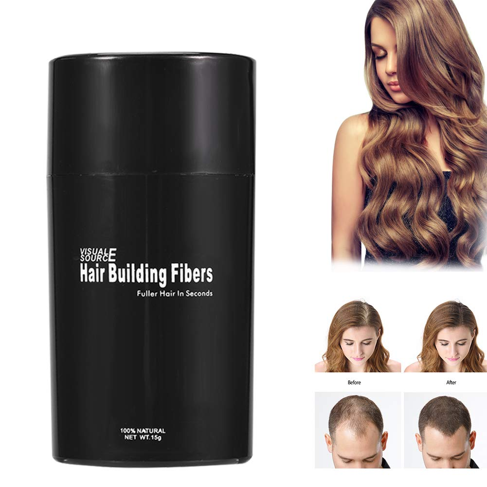 Hair Building Fiber, 4 Colors Hair Building Fiber Hair Thickener Hair Loss Solution Concealer Fuller and Denser Hair(Black) Semme