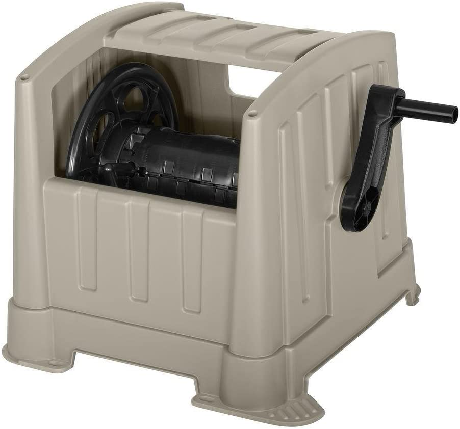 Garden Hose Reel Cart Suncast CPLPPJ100DT Hideaway with 100-Foot Hose Capacity, Heavy Duty Resin Portable. Perfect for Patio & Poolside Cleaning, Garden, Yard, Backyard, Lawn Car Wash.
