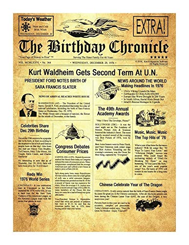 The Birthday Chronicle 11 inch x 14 inch on The Month/Year You were Born Newspaper Birthdates 01/01/1917 to 12/31/2016 (Larger Size Old Parchment Art Background)