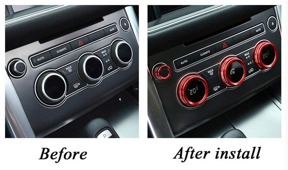 4Pcs/Set for Land Rover Range Rover Sport Vogue Autobiography 2014-2017 Aluminum Alloy Air Conditioning Knob Audio Circle Trim (red) by CHEYA (Image #2)
