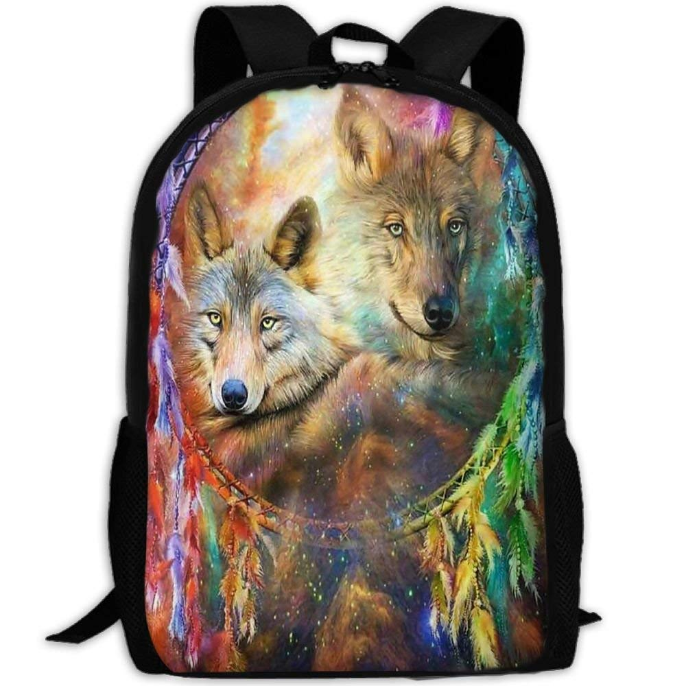 a8e294aca32c Amazon.com: Adult Travel Hiking Laptop Backpack Wolf Artwork School ...