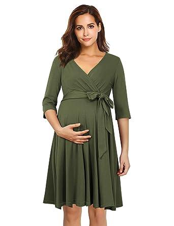 23b0aabaccf8 Coolmee Women's Wrap Maternity Dress Half Sleeve Empire Waist Midi Dress  with Belt (S,