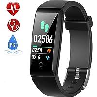 HETP Fitness Armband mit Pulsmesser, Fitness Tracker Uhr Wasserdicht IP67 Blutdruckmesser Schrittzähler Uhr Stoppuhr Sport GPS Aktivitätstracker Schlafüberwachung Anruf SMS für Kinder Damen Männer