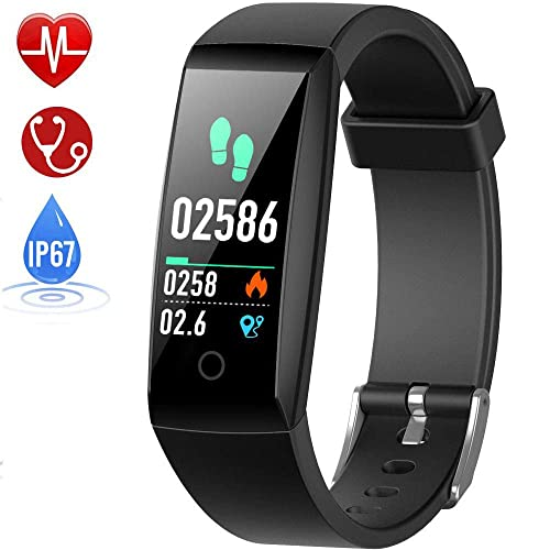 HETP Fitness Tracker, Heart Rate Fitness Wristband Smart Watch Waterproof IP67 Activity Tracker Blood Pressure Smart Bracelet with Stopwatch Sport GPS Pedometer Step Calorie Counter Women Men