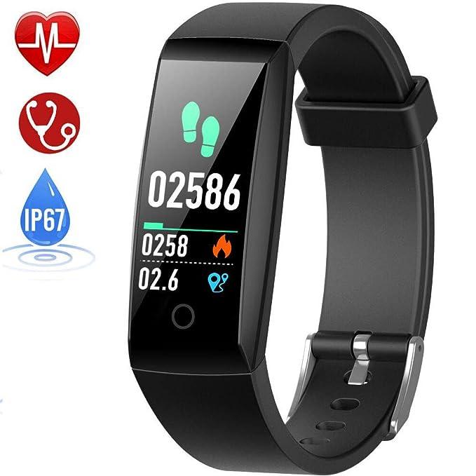 d32c3a022af7e HETP Montre Connectée Cardiofréquencemètre Bracelet Connecté Podomètre GPS  Fitness Tracker d'Activité Tension Artérielle Smartwatch Sport Femme ...