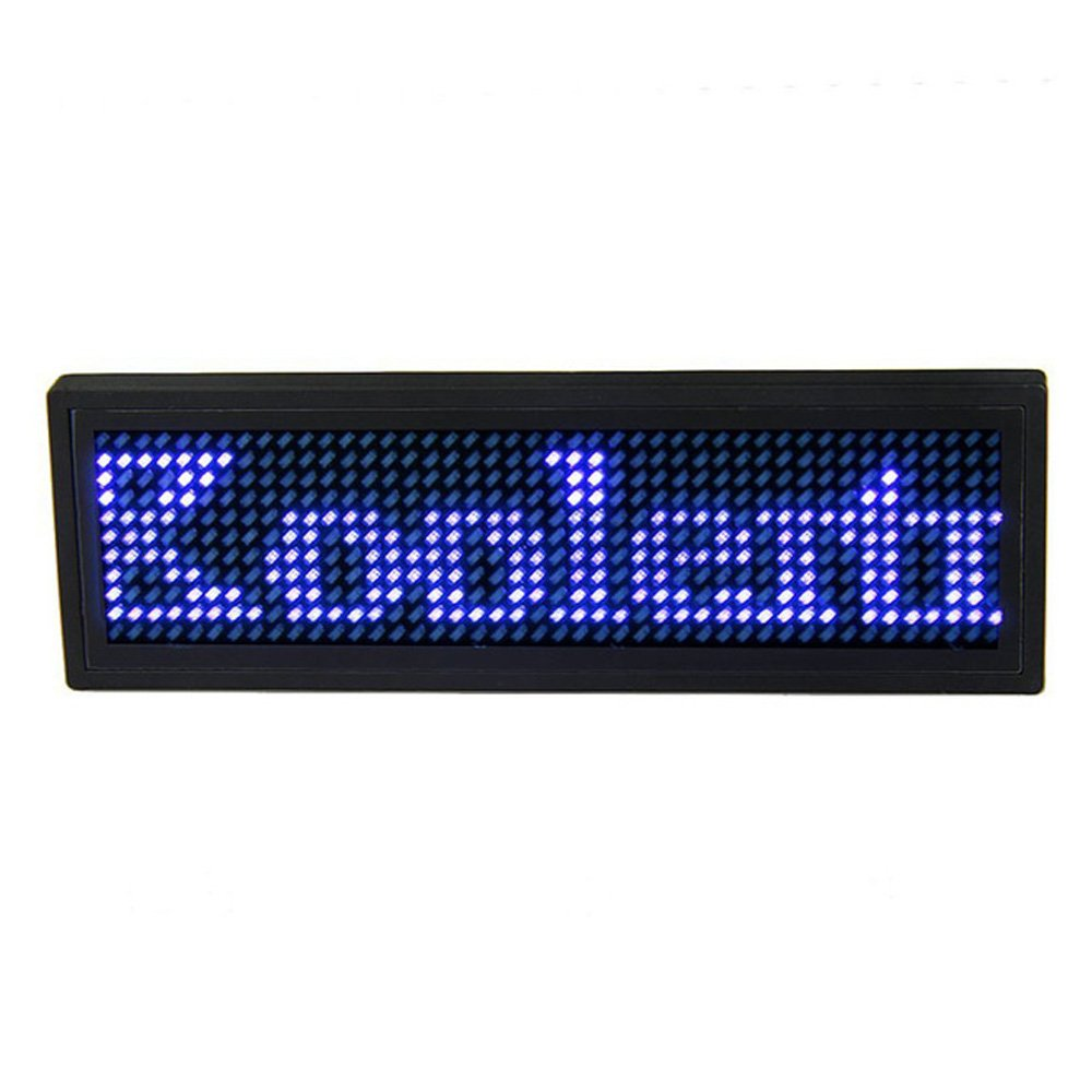 USB Programmable Scrolling Blue LED Name Badge, Mini Display Message ID Name Tag for Business Advertising Message Display Mruiks