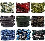 Kingree 9PCS Outdoor Multifunctional Sports Magic Scarf, High Elastic Magic Headband with UV Resistance, Headscarves, Headbands,(Camo&MixMatch E2)