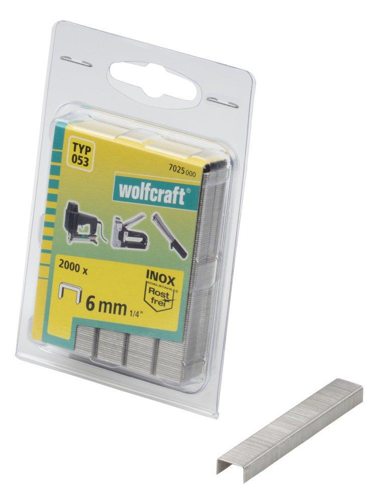 Wolfcraft 7030000 Breitr/ückenklammern INOX Typ 053 8 mm 1400 St/ück silber