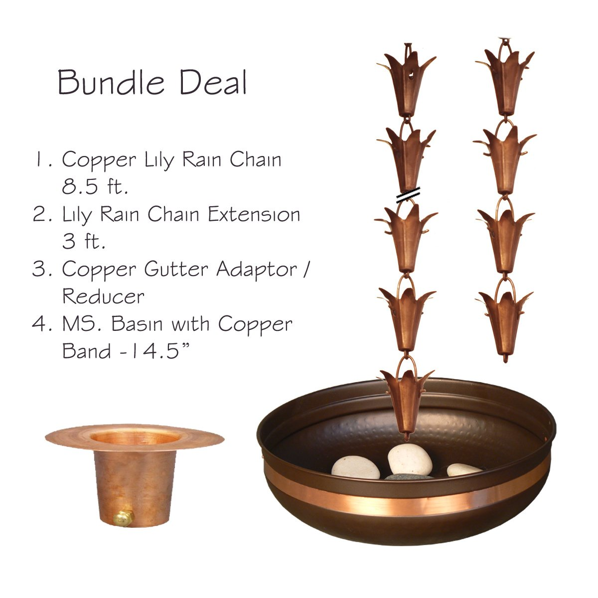 Monarch Pure Copper Lily Rain Chain Bundle Deal by Monarch Rain Chains