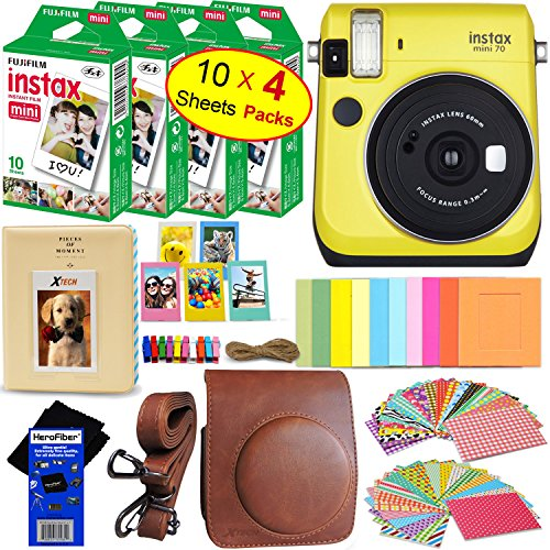 Camera White Disposable Black - Fujifilm instax Mini 70 Instant Film Camera (Canary Yellow) + Fujifilm instax Mini Instant Film (40 Sheets) + Custom Case + Assorted Frames + Photo Album + 60 Colorful Sticker Frames + HeroFiber